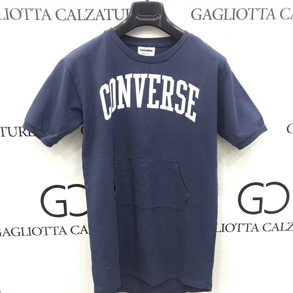 CONVERSE T-SHIRT BLUE SCRITTA BIANCA 7577 410