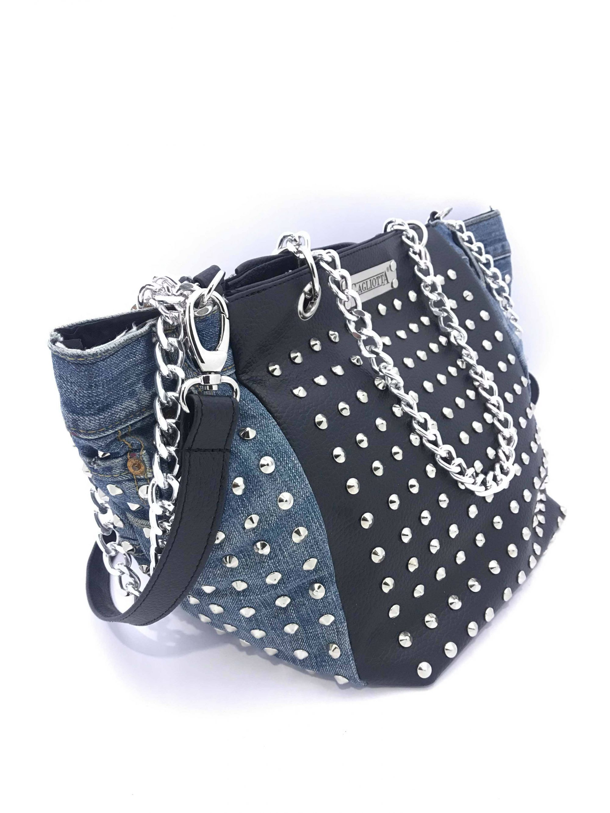 GAGLIOTTA BAG TOTAL STUDS NERO MANICO CATENA