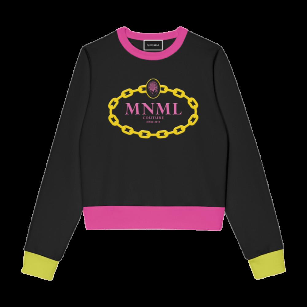 MNML FELPA C/COSTINE E CATENA A CONTRASTO NERO D1653