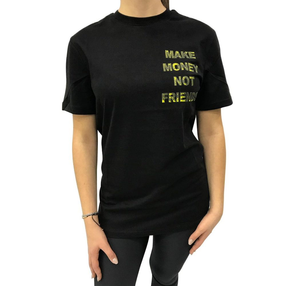 MAKE MONEY NOT FRIENDS T-SHIRT NERO/GIALLO MU171149