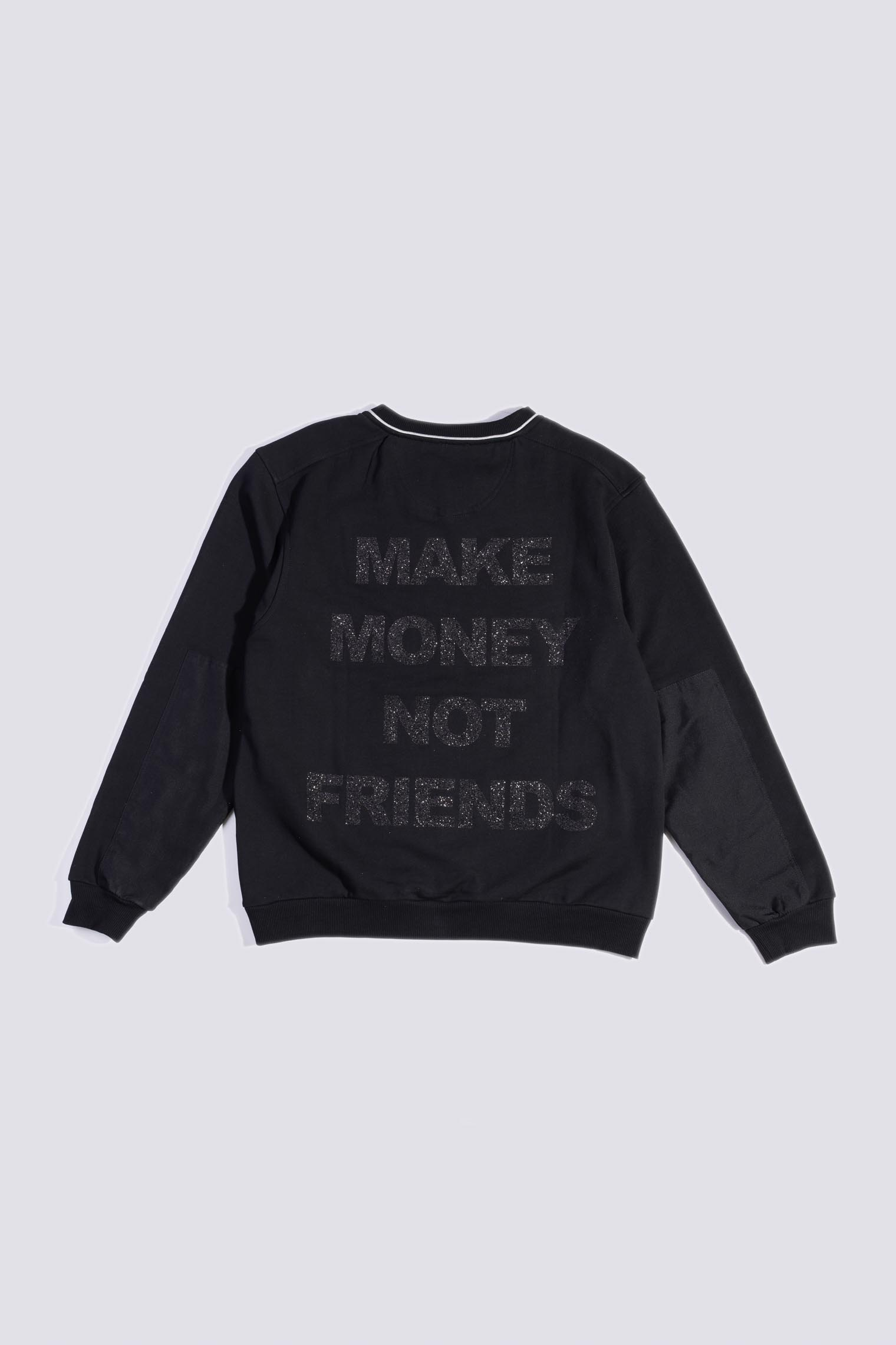 MAKE MONEY NOT FRIENDS FELPA ZIP NERO/NERO AE1