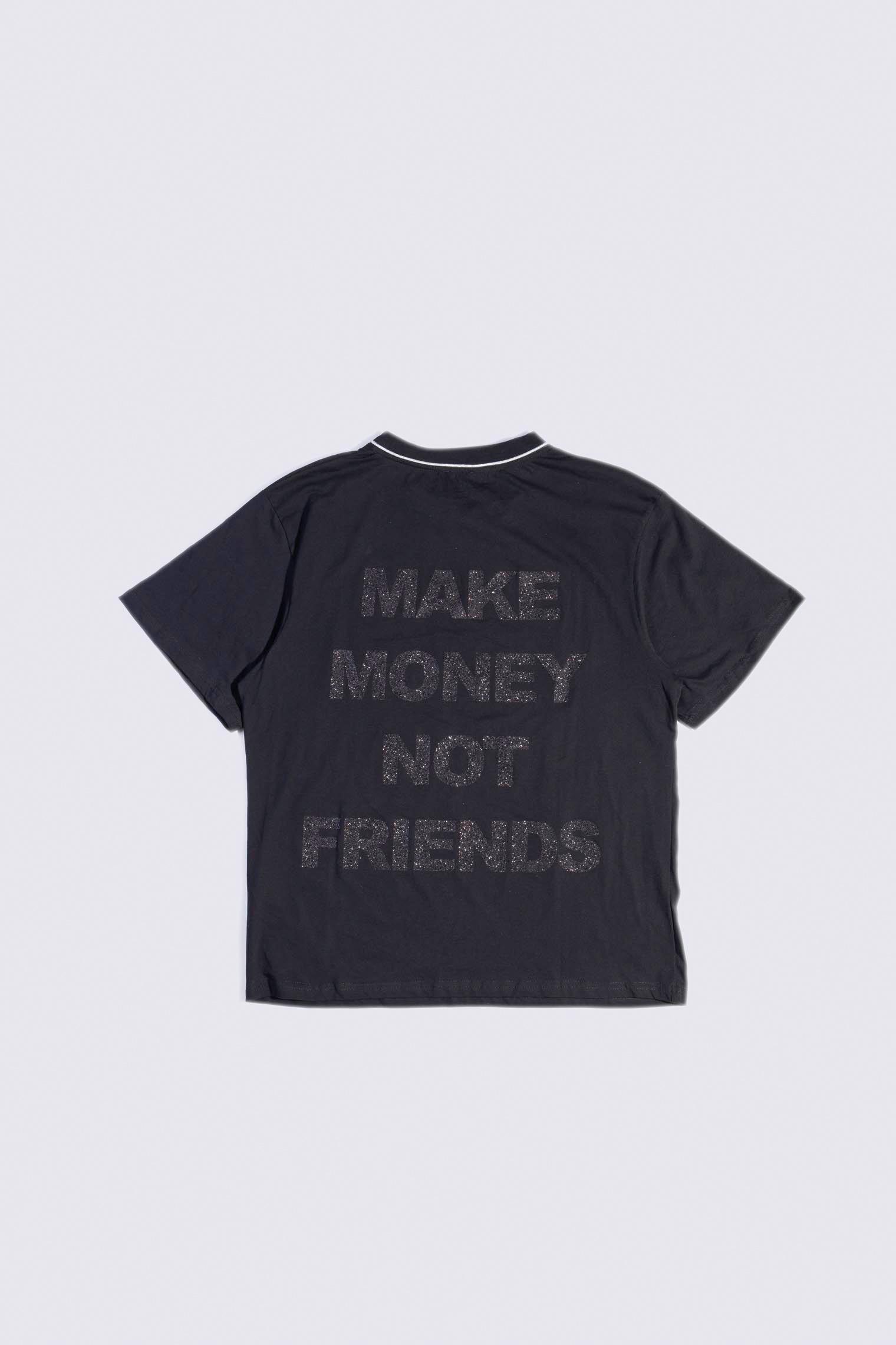 MAKE MONEY NOT FRIENDS T-SHIRT CERNIERA NERO/NERO AE2