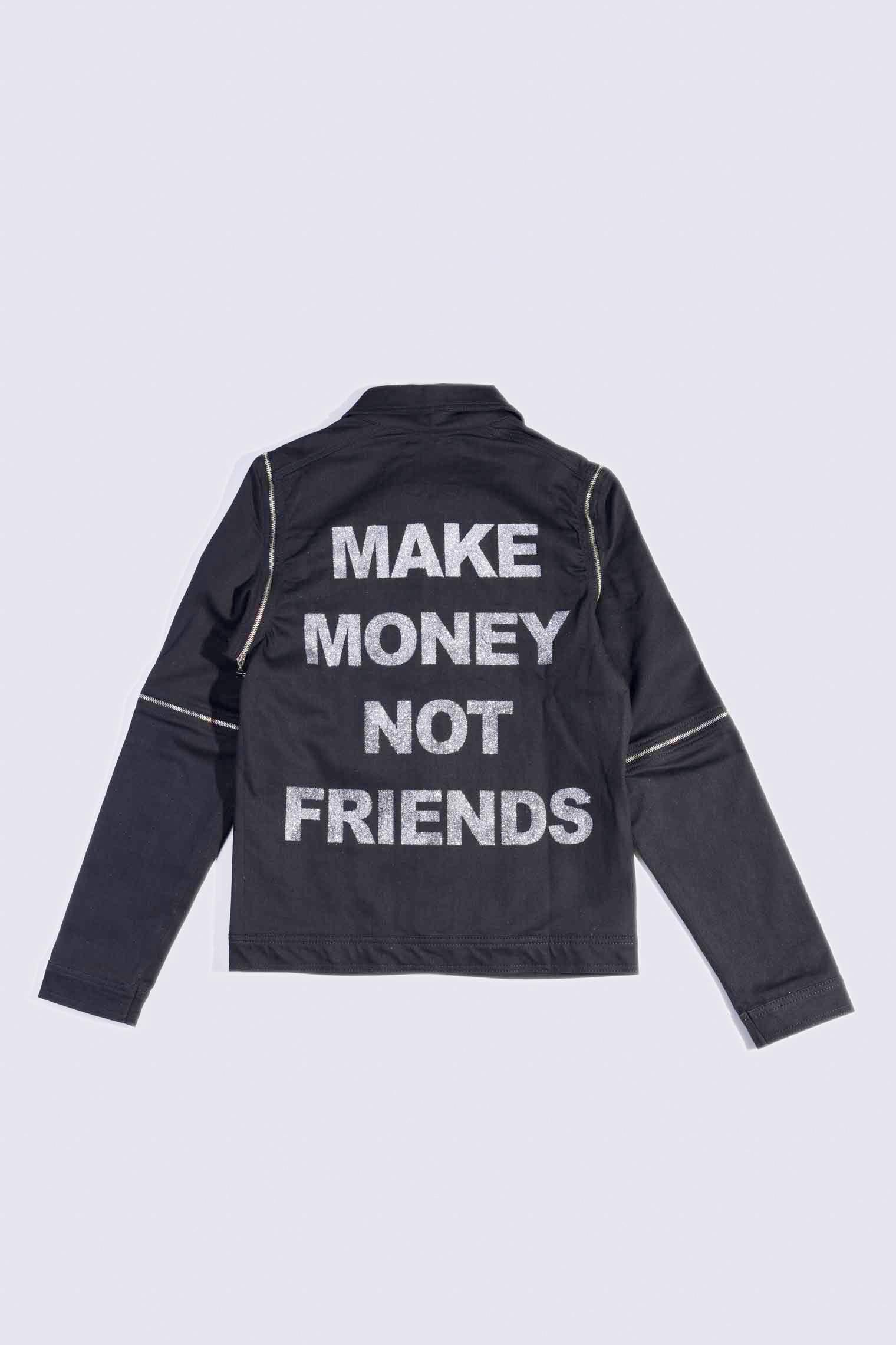 MAKE MONEY NOT FRIENDS GIUBBINO ZIP NERO/ARGENTO AE6