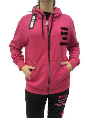 MAKE MONEY NOT FRIENDS FELPA FUXIA ZIP MU171131