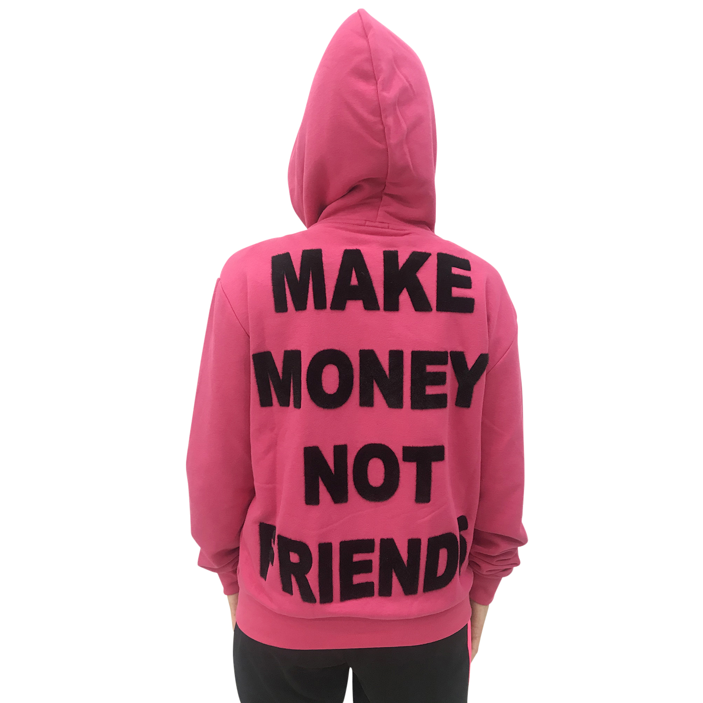 MAKE MONEY NOT FRIENDS FELPA FUXIA ZIP MU171131