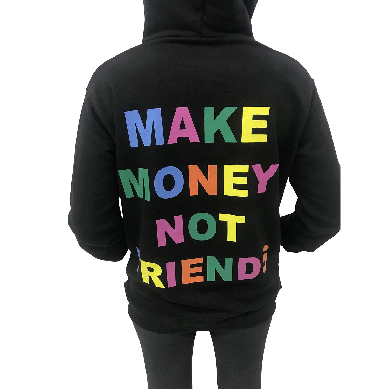 MAKE MONEY NOT FRIENDS FELPA NERO SCRITTA MULTICOLOR MU171033