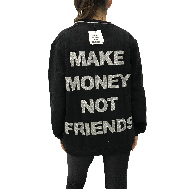 MAKE MONEY NOT FRIENDS FELPA ZIP NERO/ARGENTO AE1