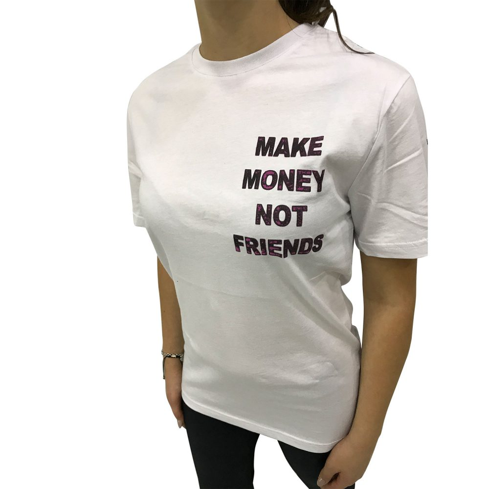 MAKE MONEY NOT FRIENDS T-SHIRT BIANCO/VIOLA MU171151