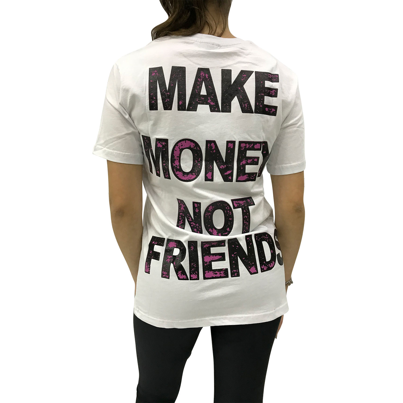 MAKE MONEY NOT FRIENDS T-SHIRT BIANCO/VIOLA MU171151