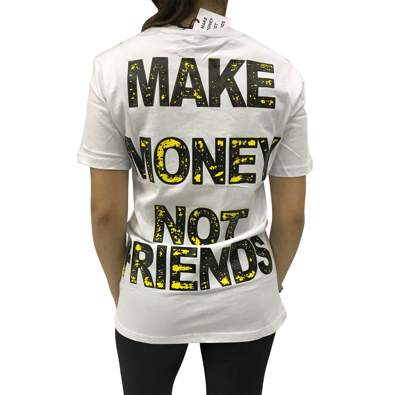 MAKE MONEY NOT FRIENDS T-SHIRT BIANCO/GIALLO MU171151