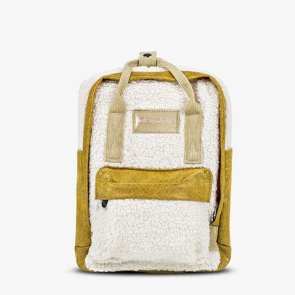 D.FRANKLIN ABBY BACKPACK FLEECE BEIGE / MUSTARD