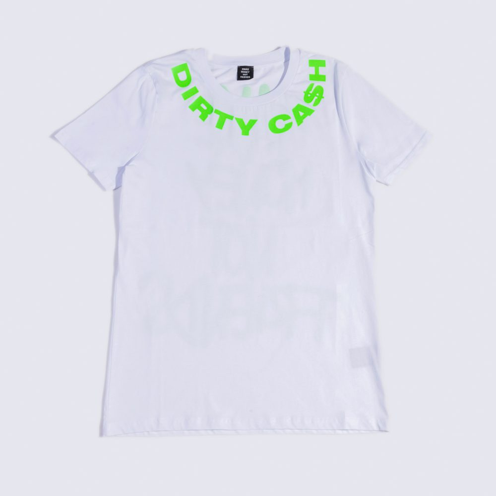 MAKE MONEY NOT FRIENDS T-SHIRT BIANCO/VERDE MU171128