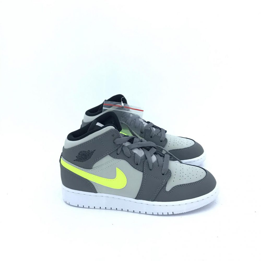 NIKE AIR JORDAN 1 MID 554725072 GREY.Y.FLUO