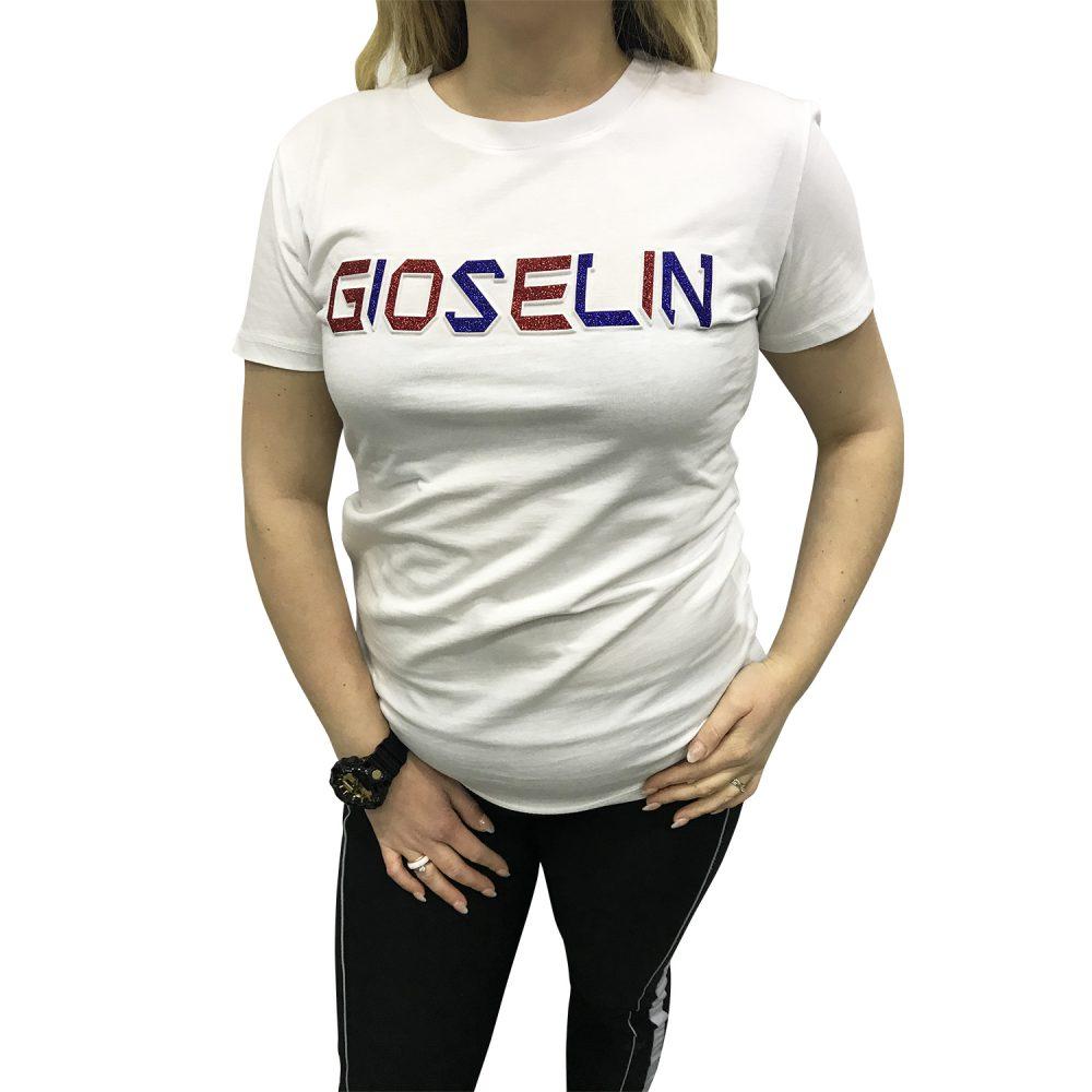 GIOSELIN T-SHIRT BIANCO SCRITTA BLU/ROSSO