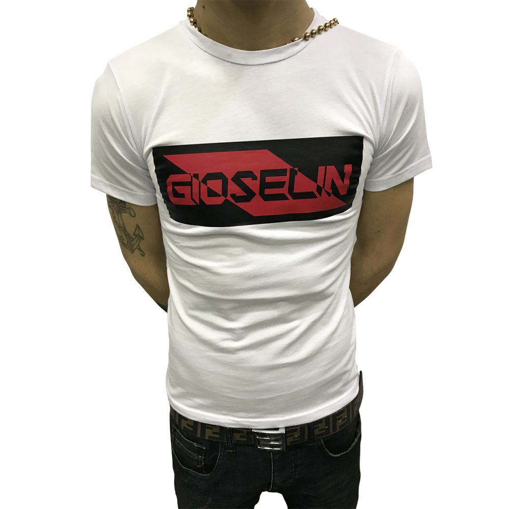 GIOSELIN GSB184 T-SHIRT BIANCO/NERO/ROSSO BABY