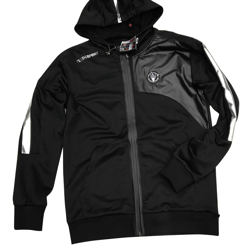 "PLEIN SPORT MJB0632 HOODIE SWEATJACKET ""BLACK VERSION"""