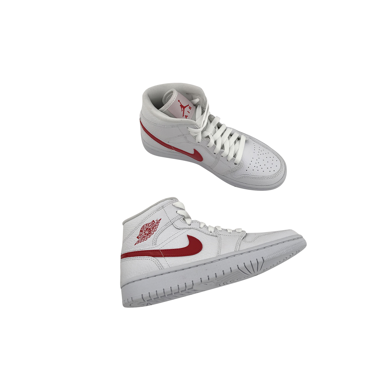 NIKE AIR JORDAN 1 MID WHITE UNIVERSITY RED (W) BQ6472 106