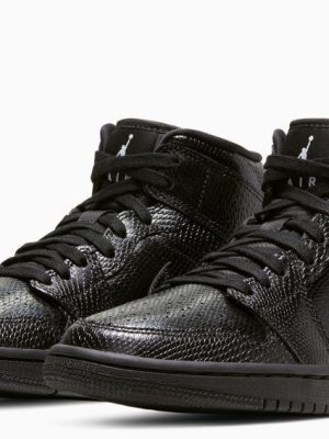 NIKE AIR JORDAN 1 MID BLACK LEATHER BQ6472 010