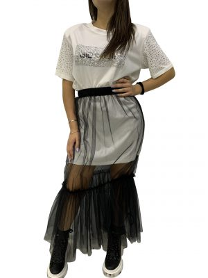 GIOSELIN T-SHIRT PERLE/STRASS+GONNA TULLE BIANCO