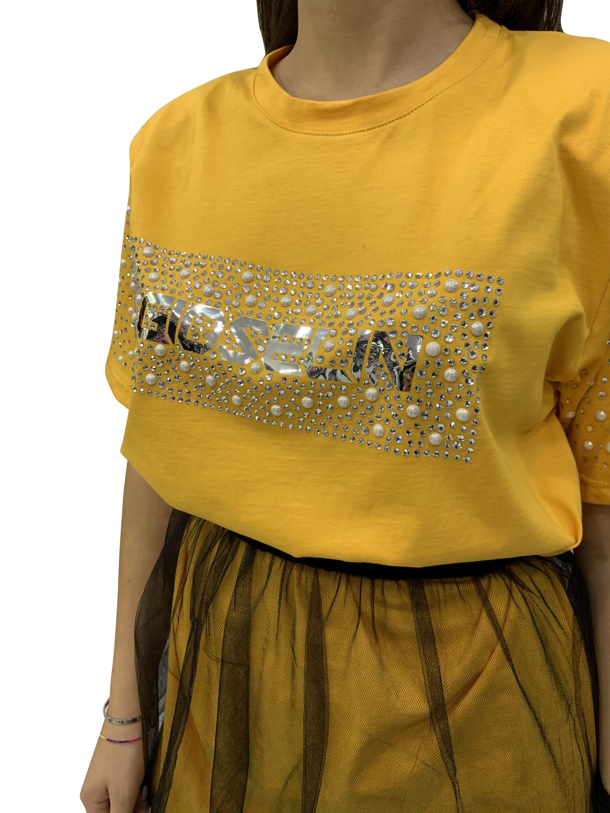GIOSELIN T-SHIRT PERLE/STRASS+GONNA TULLE SENAPE