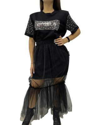 GIOSELIN T-SHIRT PERLE/STRASS+GONNA TULLE NERO
