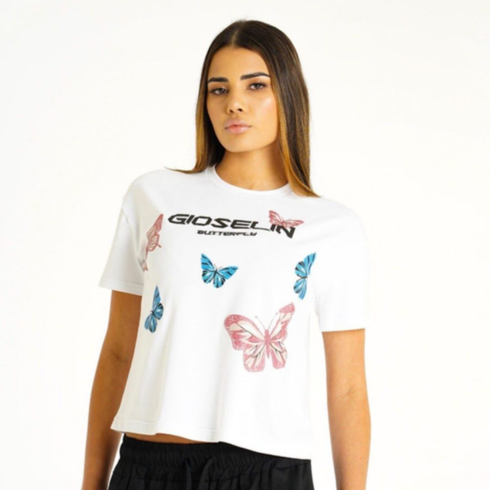 GIOSELIN T-SHIRT BUTTERFLY BIANCO